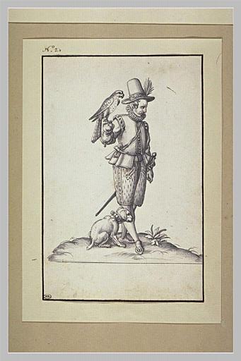 Valet de chasse ou piqueur, un faucon sur son poing droit