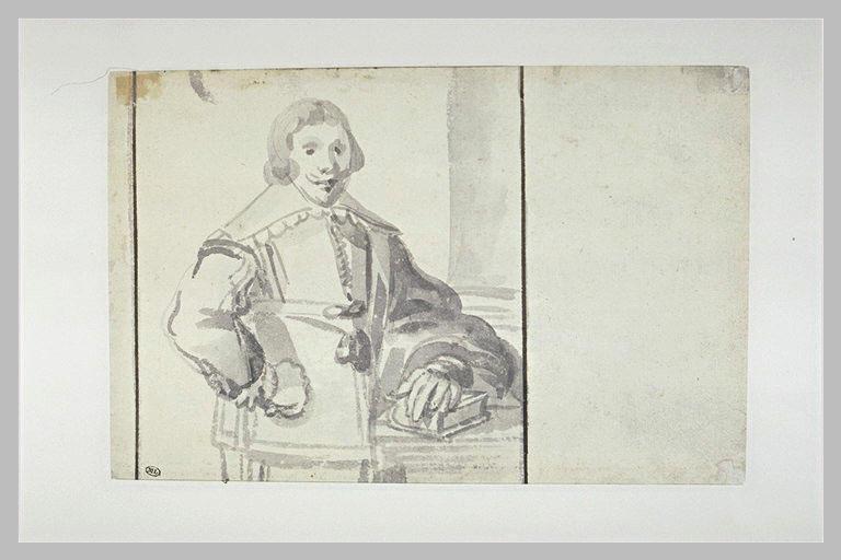 Portrait d'homme, un bras appuyé sur un livre posé sur une table