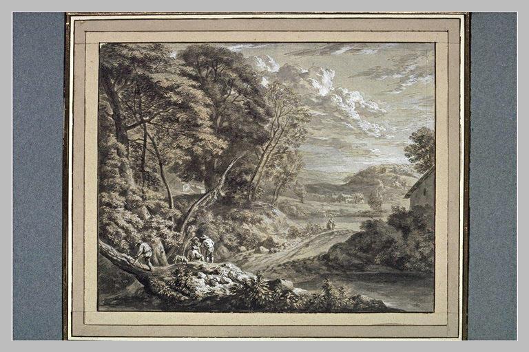 Paysage avec quatre hommes et un chien, des maisons, un lac et deux figures