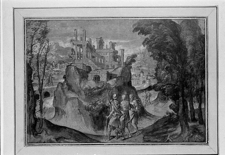 Paysage avec le Christ cheminant entre les pèlerins d'Emmaüs
