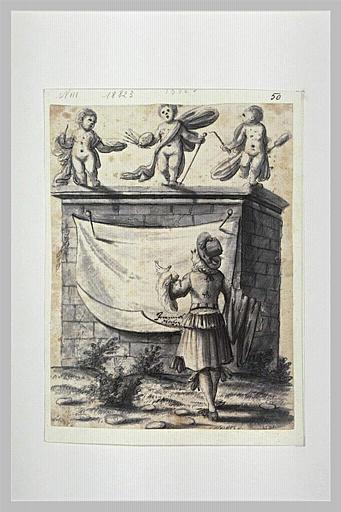 Sujet de frontispice avec un jeune homme regardant un mausolée
