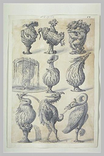 Neuf vases et motifs pour fontaines