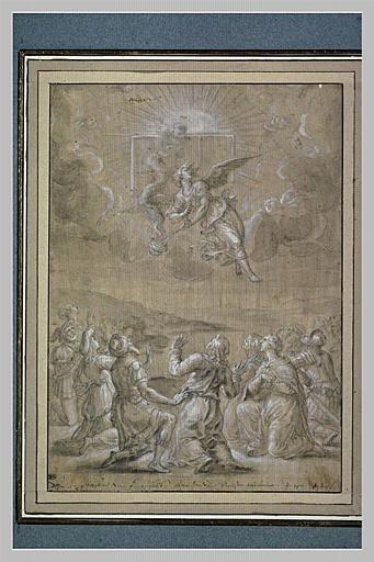Sujet religieux avec douze figures dans un paysage