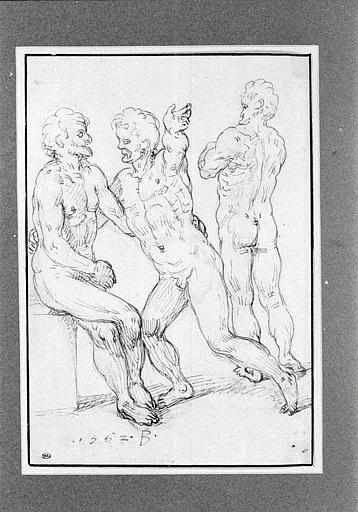 Groupe de trois hommes nus