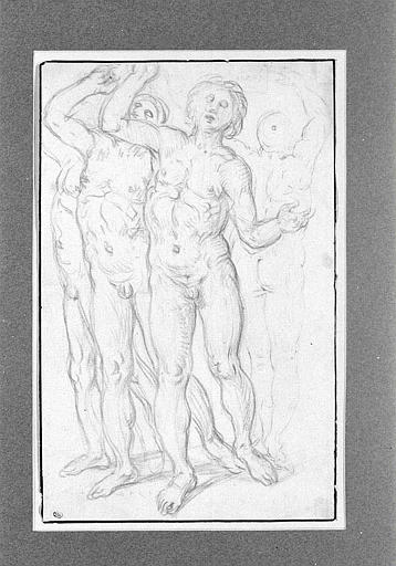 Groupe de trois hommes nus, levant les bras, de face, et un homme, de dos
