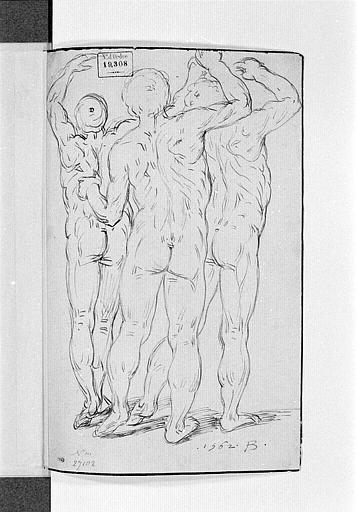 Trois hommes nus, de dos, levant les bras_0