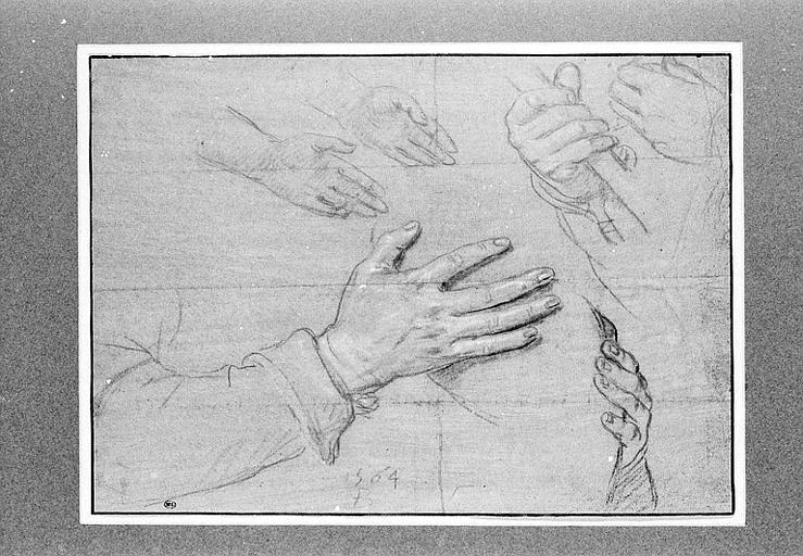 Etude d'un bras et de cinq mains_0