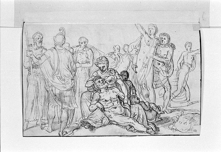 Un homme barbu assis à terre, une femme, deux enfants et huit figures_0