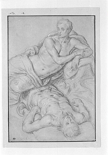 Deux études de jeunes hommes couchés, torse nu