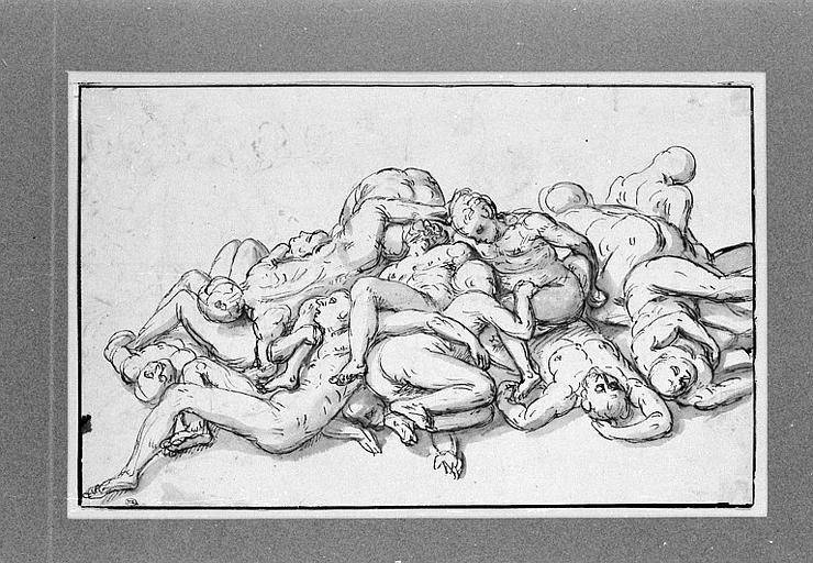 Treize figures d'hommes et de femmes, enchevêtrés et comme morts