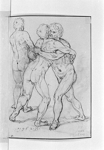 Deux hommes nus, devant un autre homme les contemplant_0