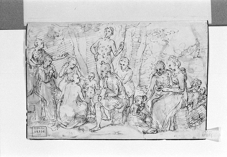 Scène antique avec un homme nu couronné de lauriers