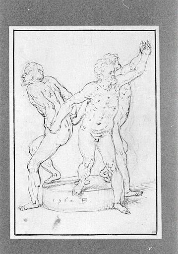 Trois hommes nus sur une meule, se tenant par les mains