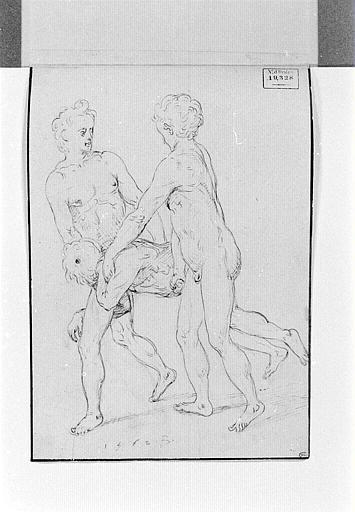 Deux hommes nus portant un corps allongé sur le ventre_0