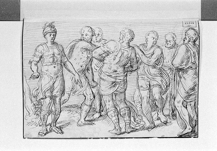 Un guerrier romain à la gauche d'un groupe de six hommes