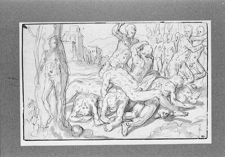 Combat de deux hommes par dessus les corps de huit autres