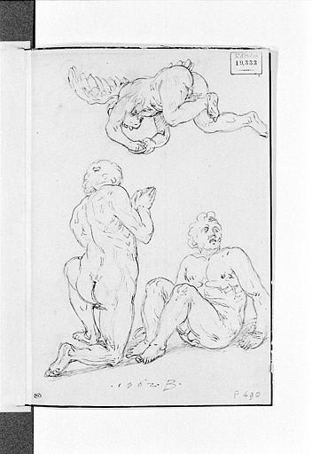 Deux hommes nus vers lesquels descend un ange