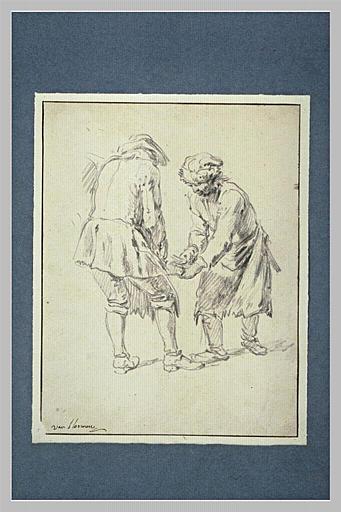 Etude de deux hommes ferrant un cheval