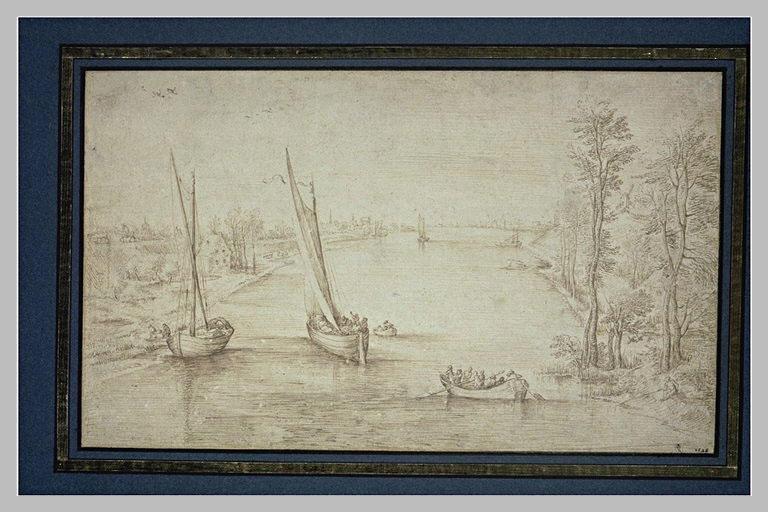 Barques sur une large rivière bordée d'arbres, de maisons et de figures