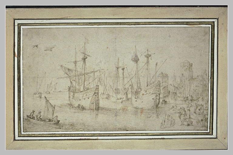 Vue d'un port de mer avec des vaisseaux_0