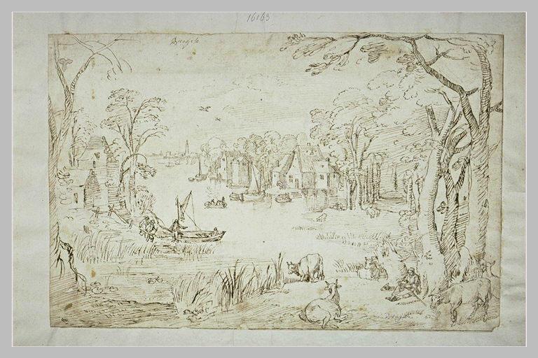 Vue d'un village sur les bords d'un étang_0