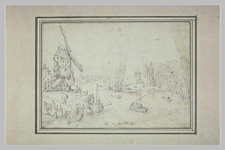 Bords d'une rivière avec un moulin à vent_0