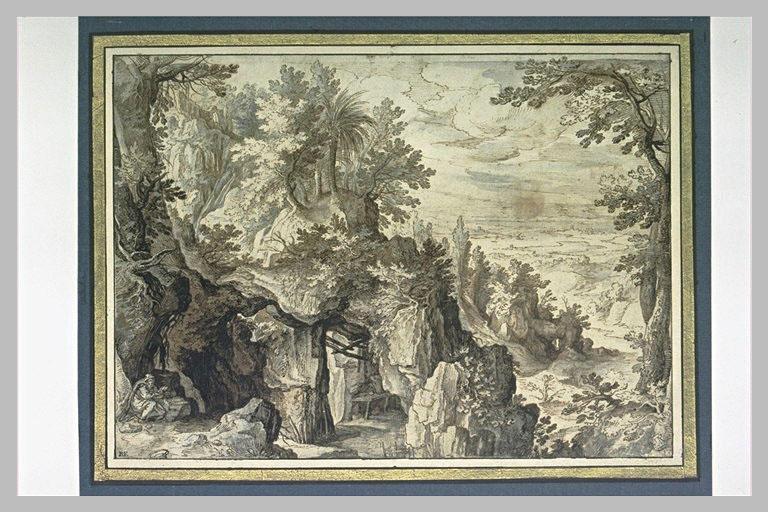 Montagne rocheuse et boisée, avec un ermite lisant_0