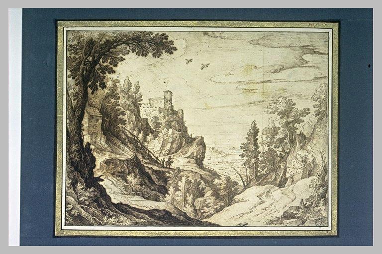 Paysage montagneux avec des maisons, et des figures_0