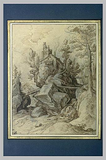 Habitation sur un rocher, au milieu d'un torrent_0