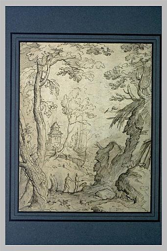 Paysage avec deux bergers s'éloignant au-delà d'un ruisseau