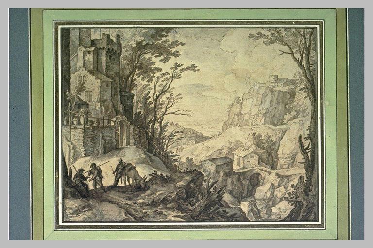Paysage montagneux avec des maisons et trois personnes conversant