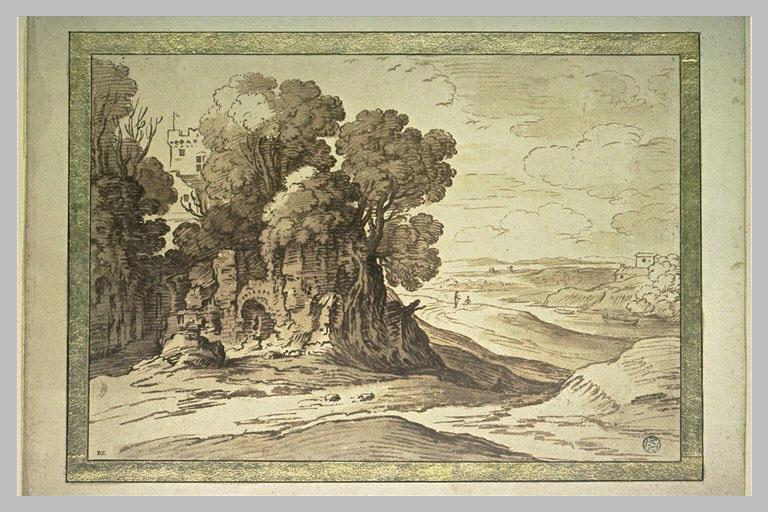 Paysage avec des ruines où poussent de grands arbres et une tourelle