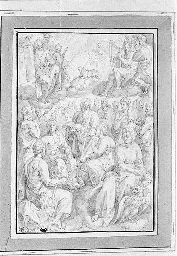 Les saints réunis aux cieux, avec au centre, l'Agneau pascal