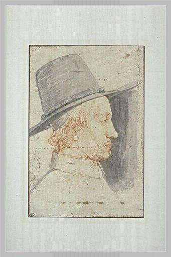 Portrait d'homme coiffé d'un haut chapeau, de profil à droite