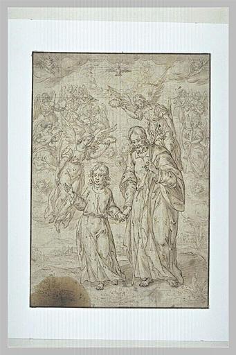 Saint Joseph et l'Enfant Jésus, accompagnés par des anges