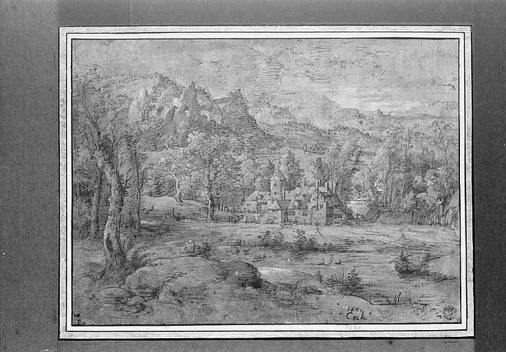Paysage avec un hameau entouré d'arbres, au pied de collines
