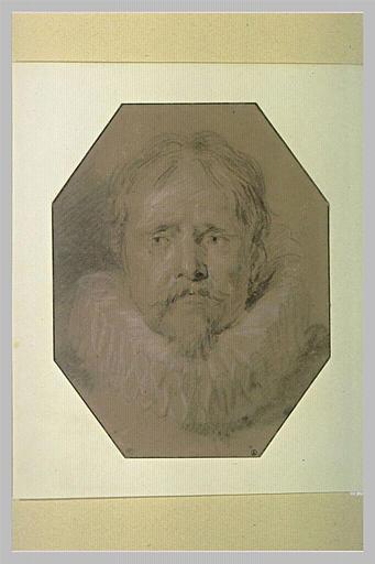 Tête d'homme vu de face, portant moustache et royale