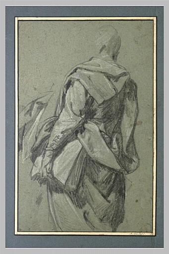 Etude d'homme, vu de dos, portant un livre sous le bras_0