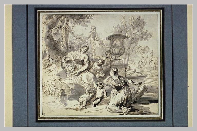 Une femme entourée, versant un recipient rempli de fruits : l'Abondance