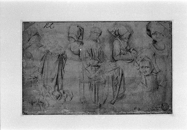 Vierge à l'Enfant, cinq têtes de femmes et une autre figure