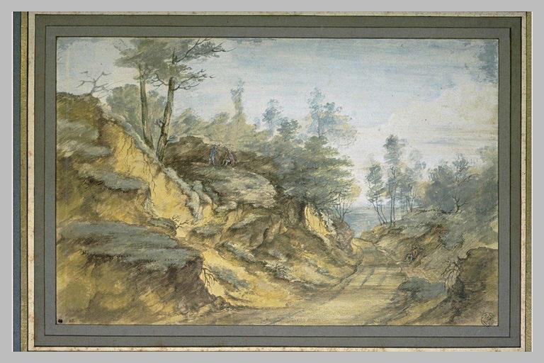 Chemin creux et sablonneux, dans un paysage boisé_0