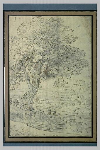 Paysage étendu, avec un grand arbre
