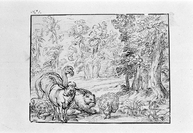 Divers animaux, au premier plan d'un paysage boisé
