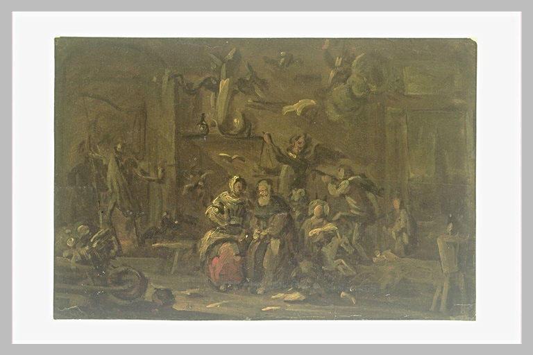 Scène de sorcellerie, dans un intérieur rustique