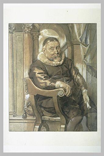 Portrait d'homme âgé, assis dans un fauteuil