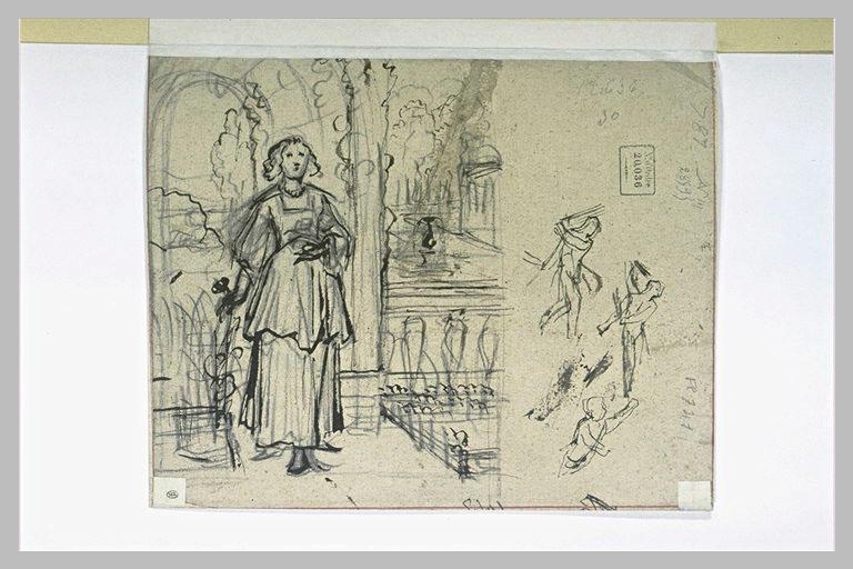 Jeune femme devant un parc et trois croquis
