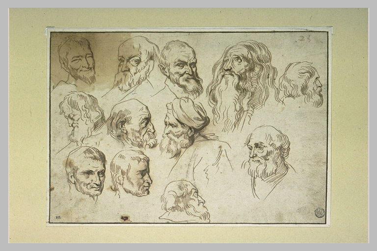 Douze études de têtes d'hommes
