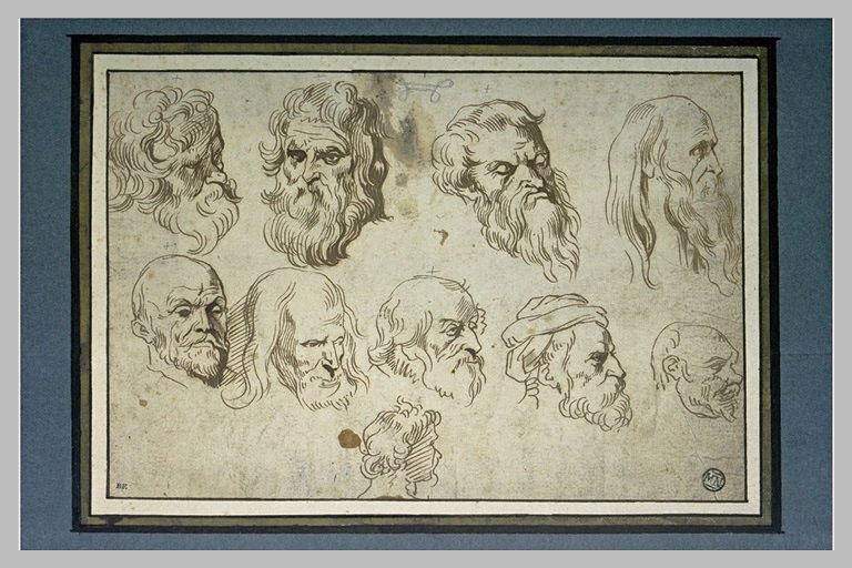 Dix études de têtes d'hommes