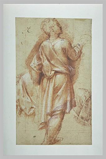 Jeune homme drapé, vu de dos, tourné vers la droite