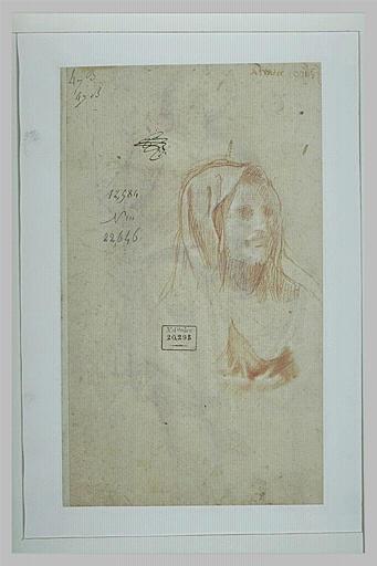 Tête de femme, coiffée d'un voile, et reprise du cou